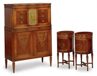 A WALNUT, MAHOGANY AND SATINWOOD PARCEL DECORATED BEDROOM SUITE,