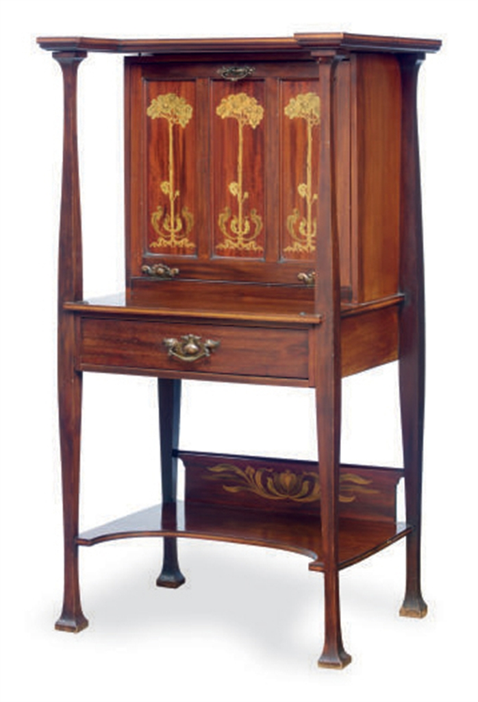 AN ENGLISH ARTS AND CRAFTS MAHOGANY AND MARQUETRY FALL-FRONT DESK, : LATE 19TH CENTURY ...