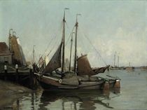 Boats in the Volendam harbour