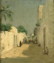 Via a Derna: figures in an Oriental street, Derna, Libya