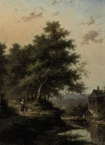 A forest landscape with a river and figures walking down a path
