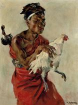 Man with fighting rooster