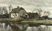 A farmhouse near the water