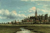 Dutch polder landscape with a village beyond