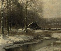 A farm in a forest in winter