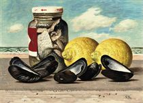 A still life with mussels, lemons and pickled herring