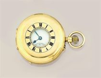 An early 20th century 18ct. gold keyless half-hunter pocket watch, by Thomas Russell