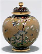 A cloisonné-enamel vase with cover