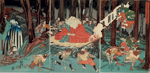 <i>gen ushikawamaru sojobo ni shitagai bujutsu o oboeru zu</i> (minamoto no ushiwakamaru [yoshitsune] attended by kisanda, practicing fencing with the <i>tengu</i> in the forest at night under the direction of their king, sojobo)