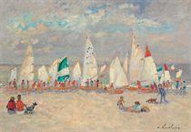 A marée haute l'école de voile à Deauville
