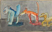 Tiere in einer Reihe