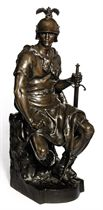 A FRENCH BRONZE MODEL OF A ROMAN SOLDIER ENTITLED 'LE COURAGE MILITAIRE'