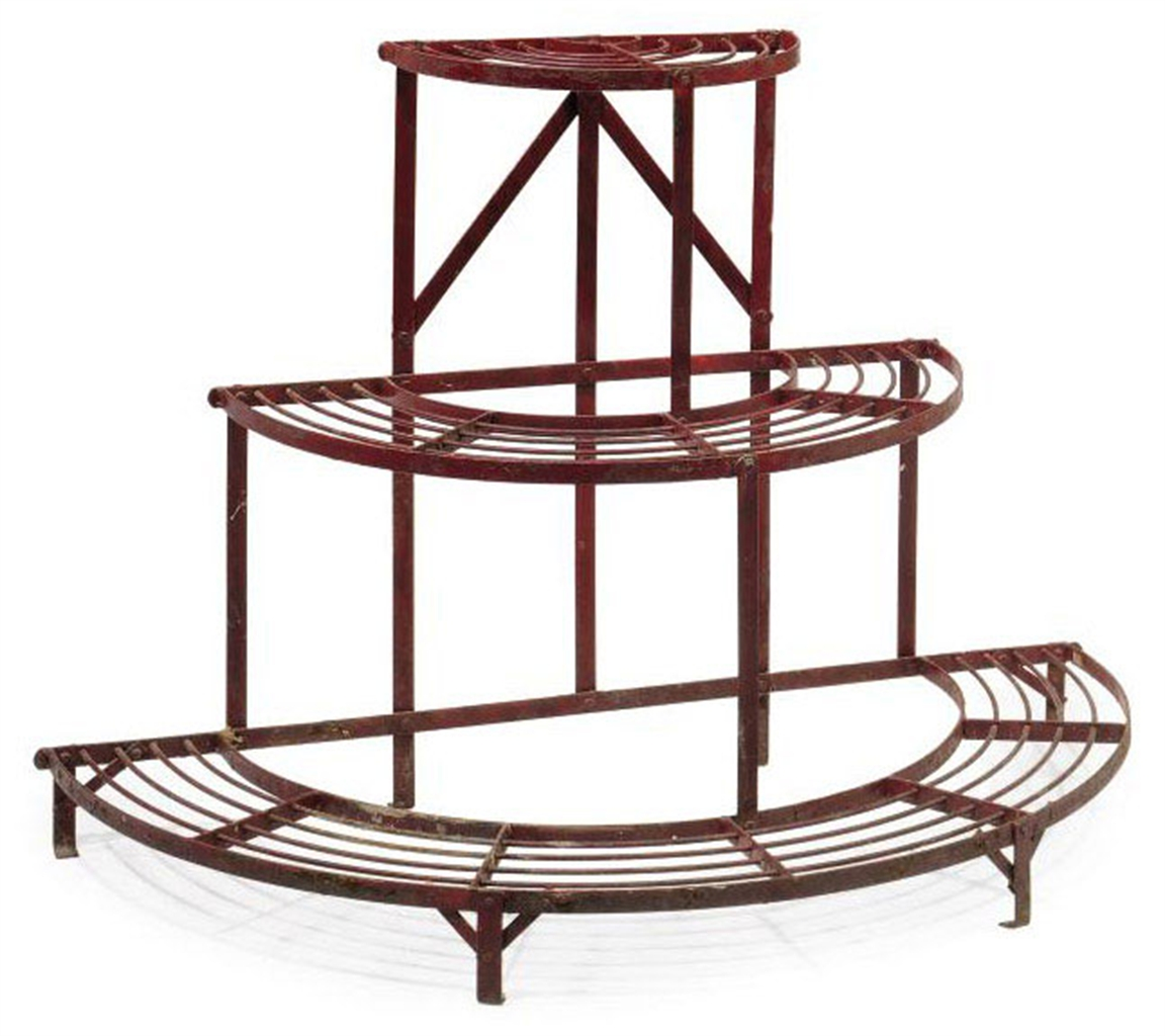 AN ENGLISH PAINTED IRON CONSERVATORY PLANT STAND EARLY 20TH CENTURY