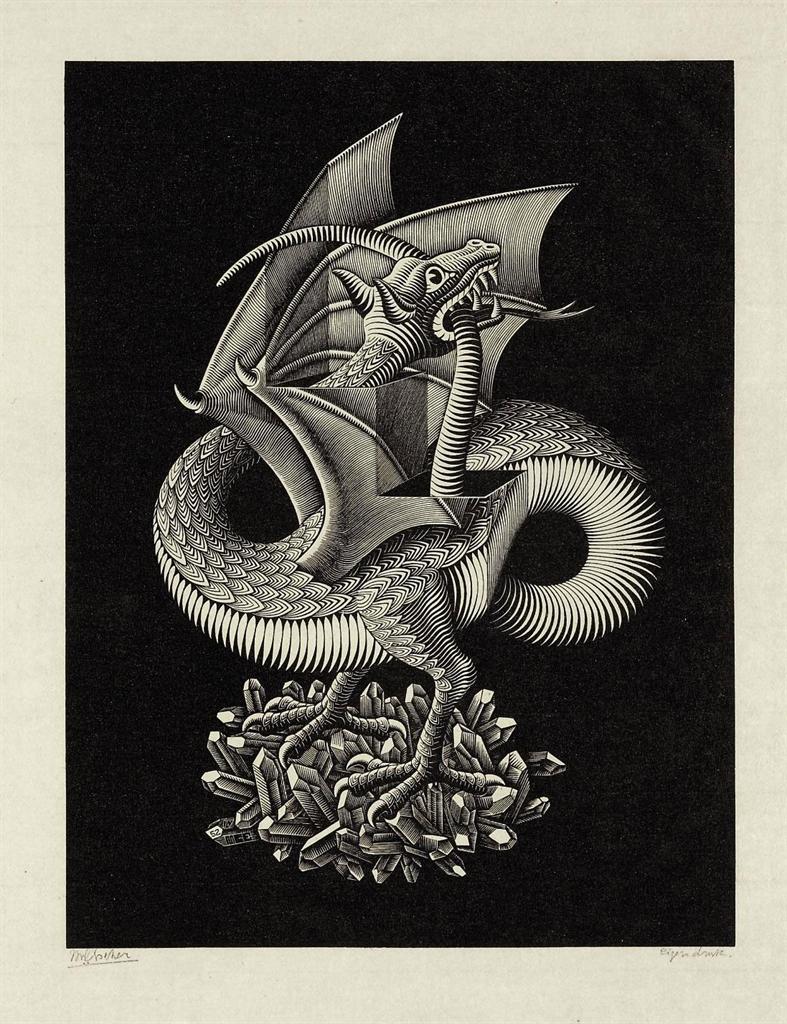 Maurits cornelis escher dragon draak b 379 1950s for Escher metamorfosi