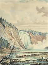 A waterfall, with the artist sketching in the foreground