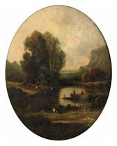 Figures near a river in a panoramic landscape