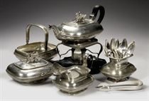 A Dutch silver five-piece tea-service