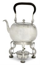"A GEORGE I SILVER ""DUTY DODGER"" KETTLE AND STAND"