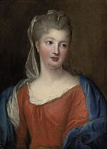 Portrait of a lady, half-length, in a red dress with a blue shawl