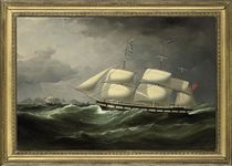 The Frankfield 'showing her number' in rough seas off Table Bay, Cape Town