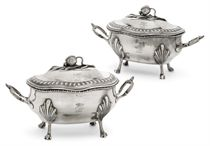 A PAIR OF GEORGE III  SILVER SAUCE TUREENS & COVERS