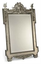 A LARGE AUSTRIAN SILVER DRESSING TABLE MIRROR
