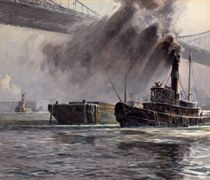 New York Harbor Under the Manhattan Bridge