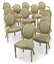 A SET OF TWELVE GILTWOOD CHAIRS