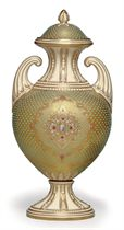 A COALPORT PORCELAIN 'JEWELED' GOLD AND IVORY GROUND VASE AND COVER