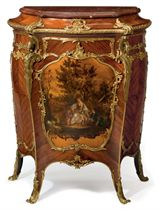 A FRENCH ORMOLU-MOUNTED KINGWOOD AND VERNIS MARTIN MEUBLE D'APPUI