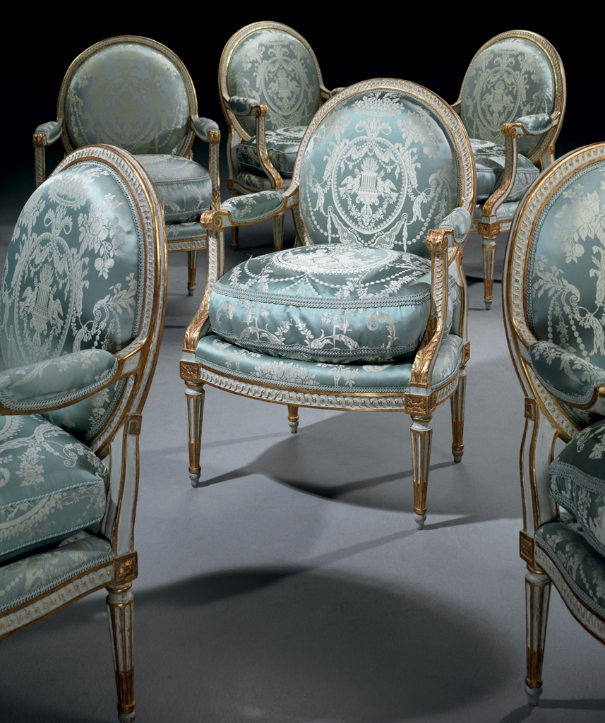 a set of six louis xvi white painted and parcel gilt. Black Bedroom Furniture Sets. Home Design Ideas