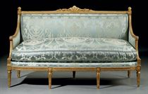A LOUIS XVI GILT WALNUT CANAPE
