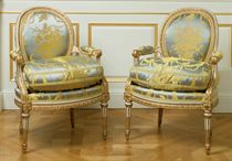 A SET OF FOUR LOUIS XVI WHITE-PAINTED AND PARCEL-GILT FAUTEUILS