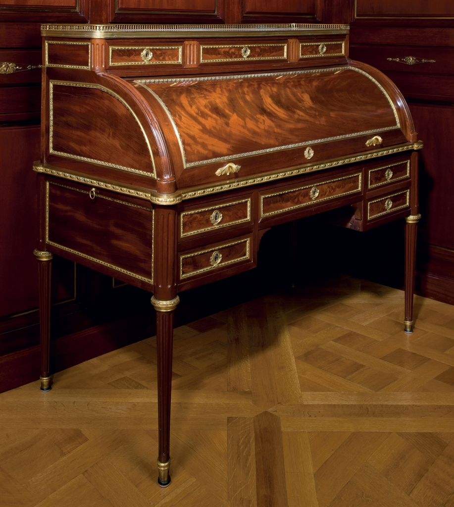 a louis xvi ormolu mounted mahogany cylinder bureau by jean henri riesener circa 1785 18th. Black Bedroom Furniture Sets. Home Design Ideas
