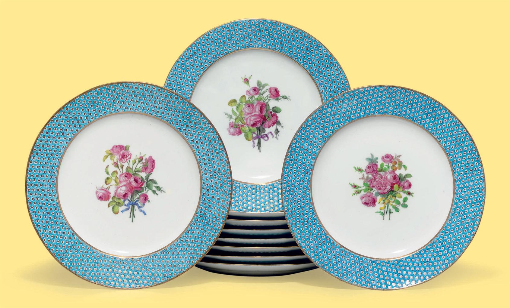 ten sevres porcelain bleu celeste taillandier plates from. Black Bedroom Furniture Sets. Home Design Ideas