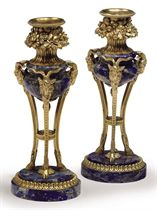 A PAIR OF FRENCH ORMOLU AND LAPIS LAZULI CANDLESTICKS