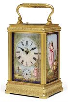 A FRENCH ENGRAVED GILT-BRASS AND PORCELAIN-MOUNTED STRIKING AND REPEATING CARRIAGE CLOCK WITH ALARM