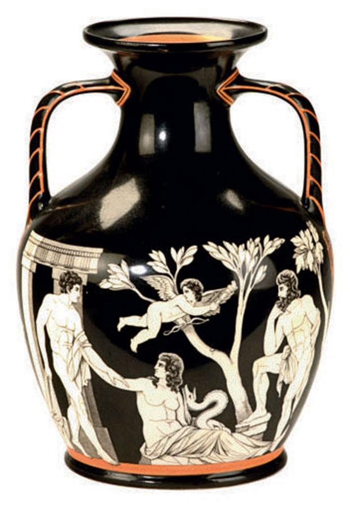 A Porcelain Model Of The Portland Vase Printed Black S A Amp Co For Samuel Alcock Amp Co