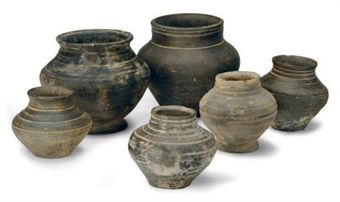 SIX ASIAN POTTERY JARS,