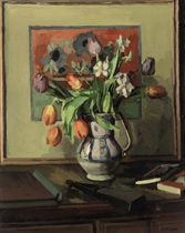 Still life with tulips and narcissi in a jug