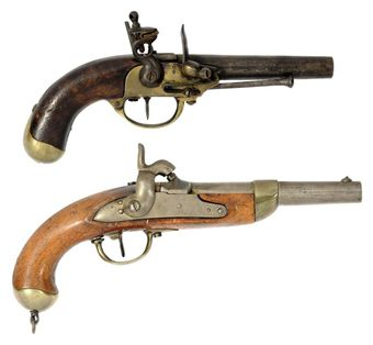 A 14-BORE FLINTLOCK SERVICE PISTOL OF FRENCH M.1777 TYPE