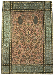 a large safavid silver-thread embroidered silk prayer panel