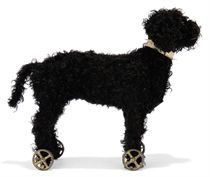 A STEIFF EARLY STANDING POODLE ON WHEELS, (22 or 1222), blac