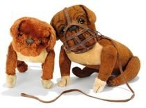 TWO STEIFF JOINTED BULLDOGS, one burlap plush, (5228,7), whi