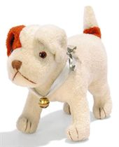 A STEIFF STANDING YOUNG FOX TERRIER, white wool plush with b