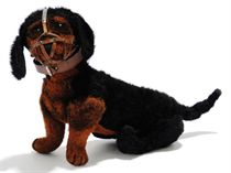 A STEIFF JOINTED BURLAP DACHSHUND, (5217), black and brown,