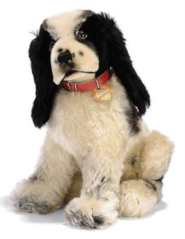 A STEIFF SEATED BUTCH THE COVER DOG, (3330,2), black and white mohair, brown, black and white glass eyes, black stitching, swivel head, red collar, squeaker, script button with yellow cloth tag with handwritten number and chest tag, 1958 --12¼in. (31cm.) high (slightly faded)