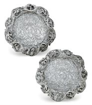 A PAIR OF IMPORTANT VICTORIAN SILVER DOUBLE-MAGNUM WINE COASTERS WITH THE ARMS OF ROTHSCHILD