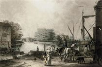 Elegant figures before a pottery kiln on a wharf (illustrated); and Unloading barges by a mill
