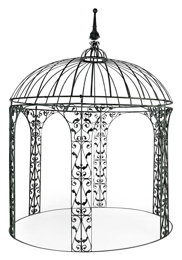 A green painted wrought iron gazebo modern private